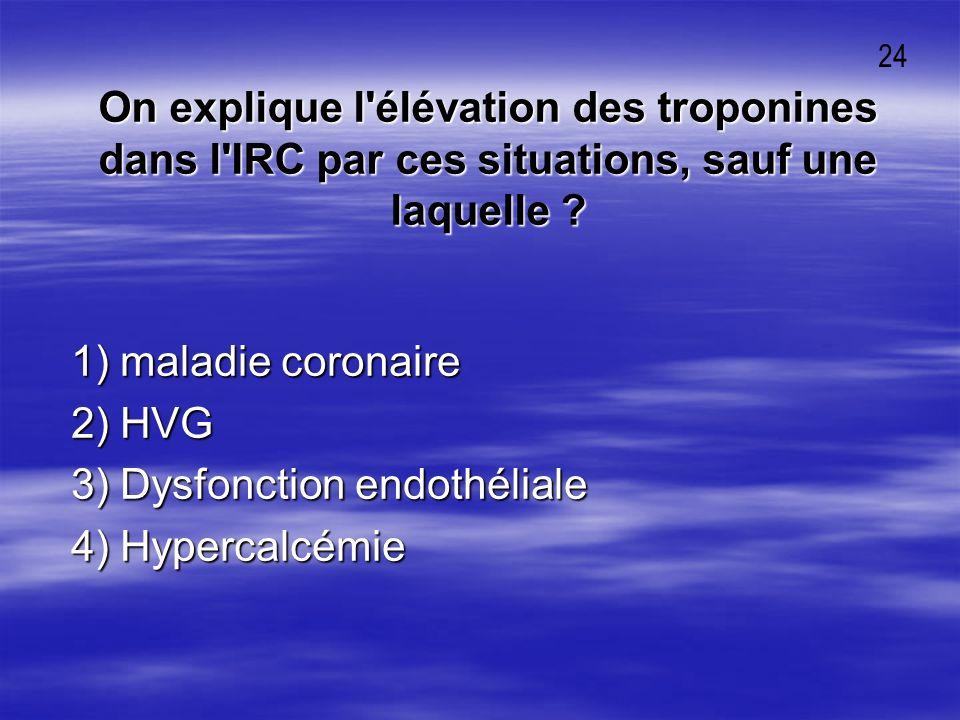 3) Dysfonction endothéliale 4) Hypercalcémie