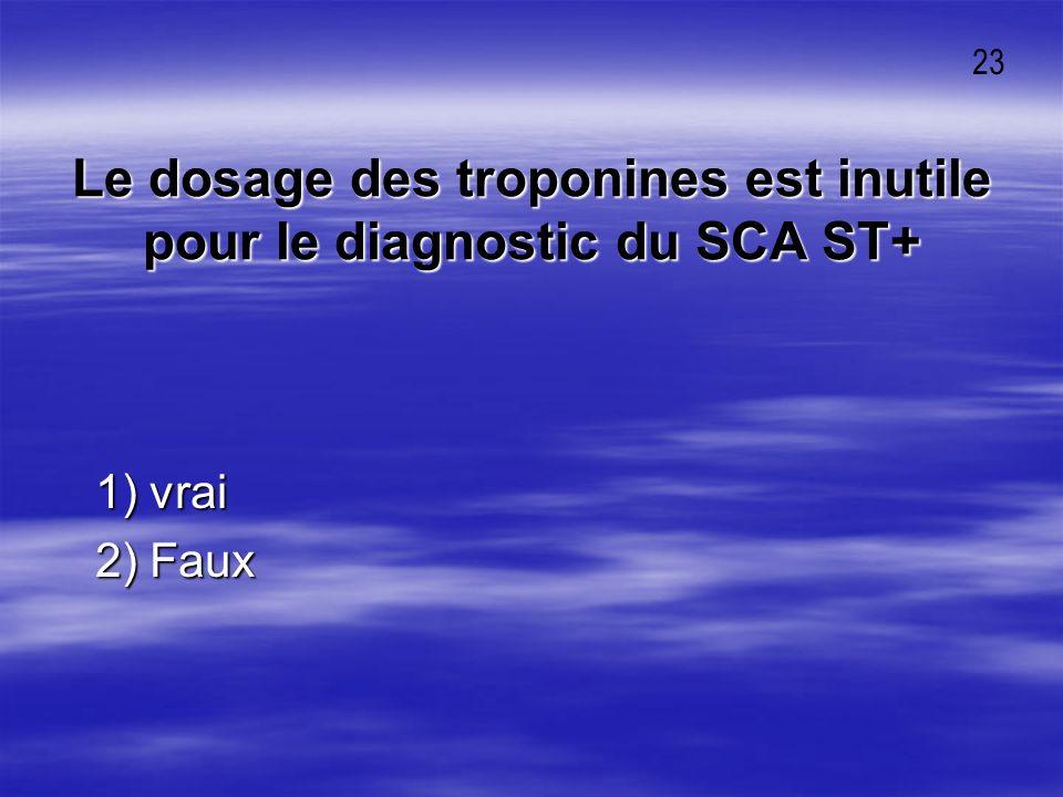 Le dosage des troponines est inutile pour le diagnostic du SCA ST+