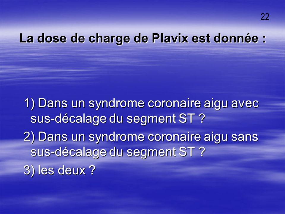La dose de charge de Plavix est donnée :