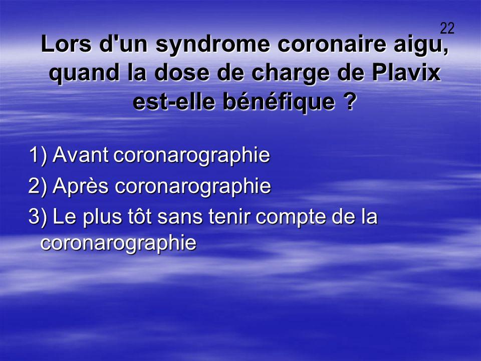 22 Lors d un syndrome coronaire aigu, quand la dose de charge de Plavix est-elle bénéfique 1) Avant coronarographie.
