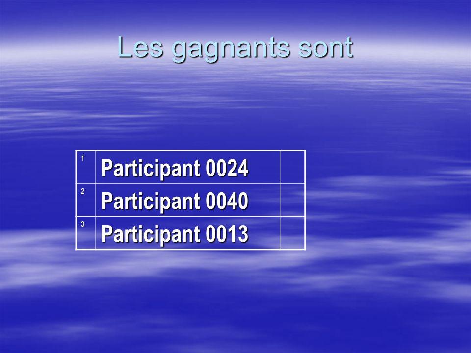 Les gagnants sont Participant 0024 Participant 0040 Participant 0013 1