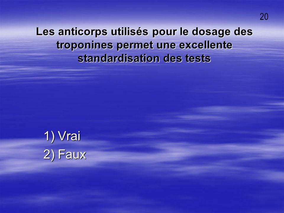 20 Les anticorps utilisés pour le dosage des troponines permet une excellente standardisation des tests.