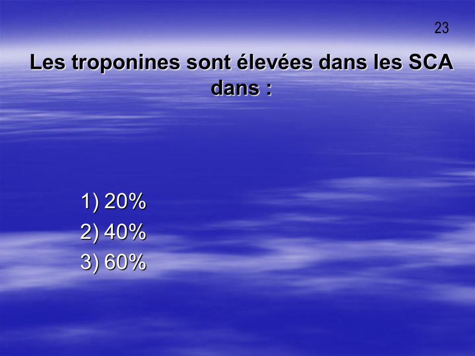 Les troponines sont élevées dans les SCA dans :