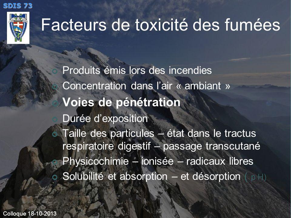 Facteurs de toxicité des fumées