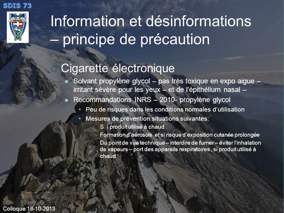 Information et désinformations – principe de précaution