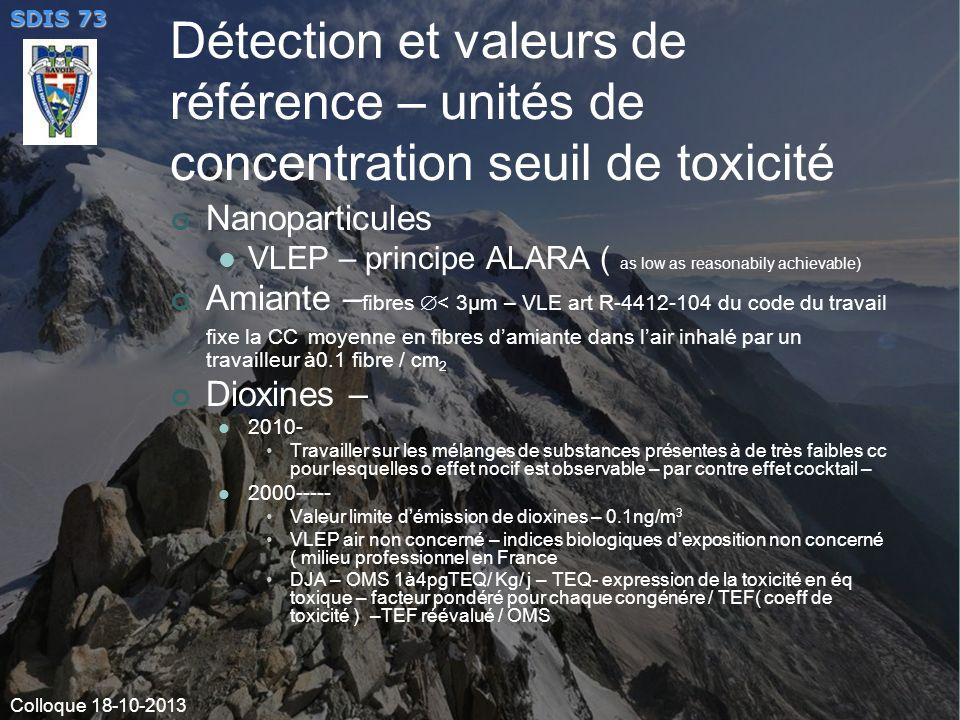 Détection et valeurs de référence – unités de concentration seuil de toxicité