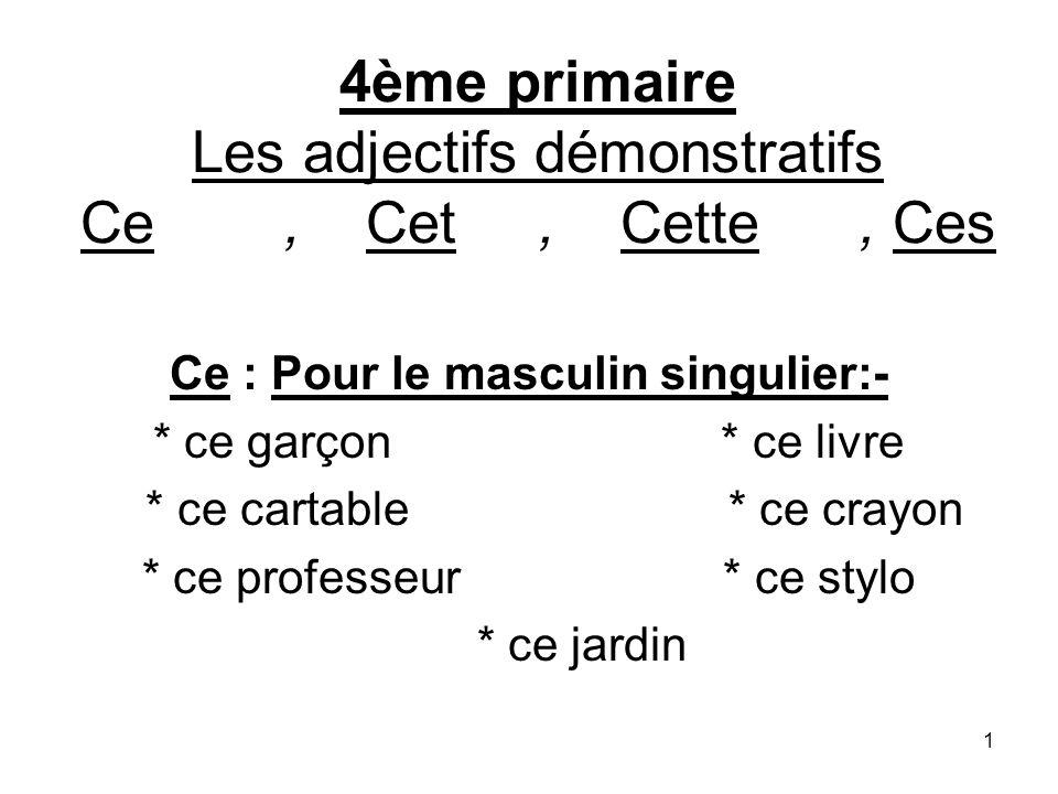 4ème primaire Les adjectifs démonstratifs Ce , Cet , Cette , Ces