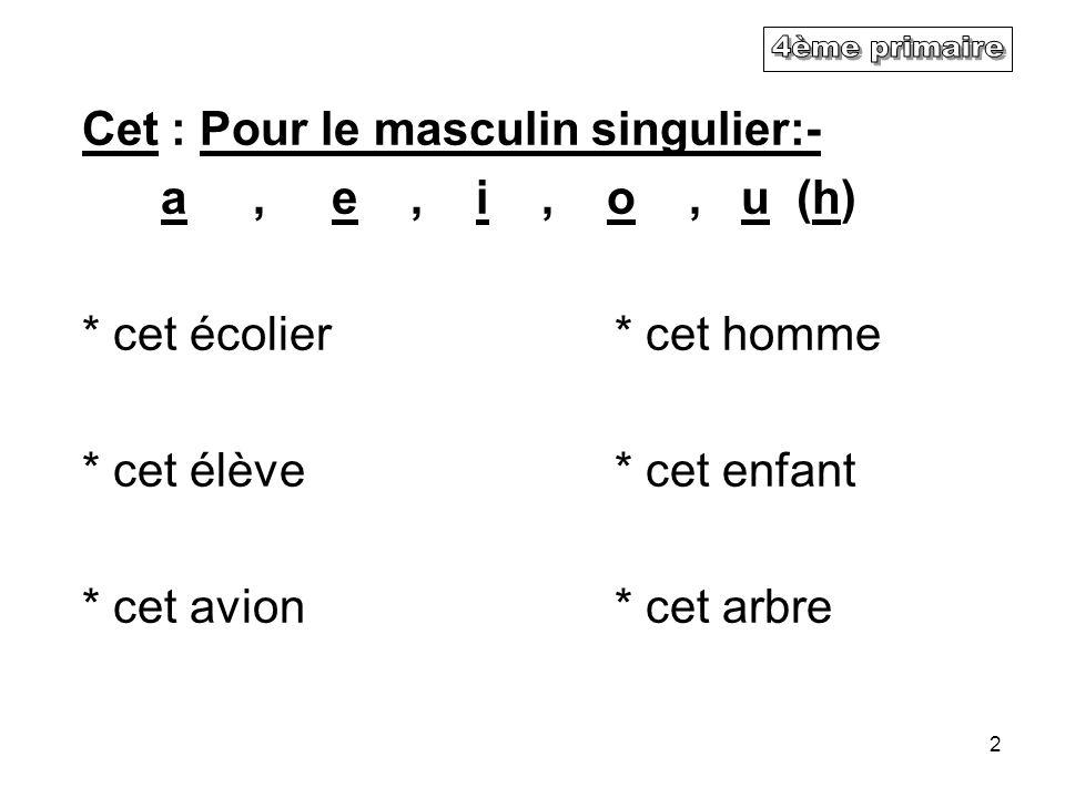 4ème primaire Cet : Pour le masculin singulier:- a , e , i , o , u (h)