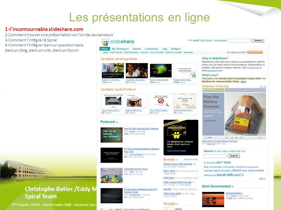 Les présentations en ligne