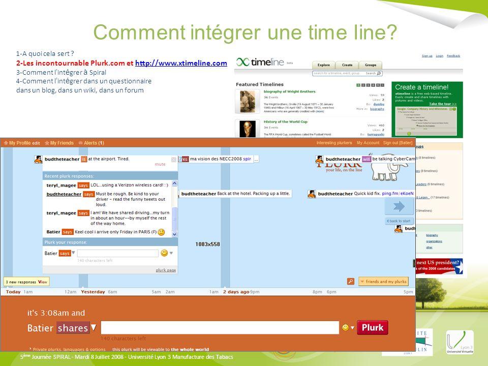 Comment intégrer une time line