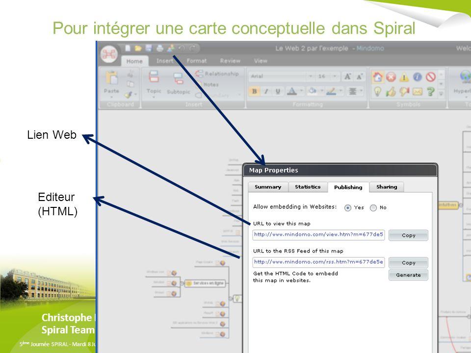 Pour intégrer une carte conceptuelle dans Spiral
