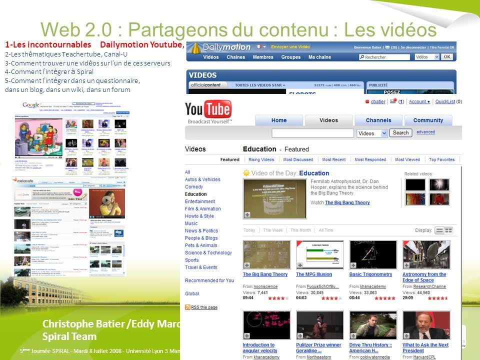 Web 2.0 : Partageons du contenu : Les vidéos