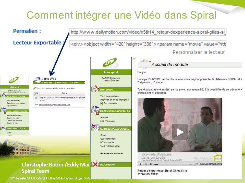 Comment intégrer une Vidéo dans Spiral
