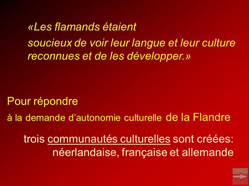 «Les flamands étaient soucieux de voir leur langue et leur culture reconnues et de les développer.»