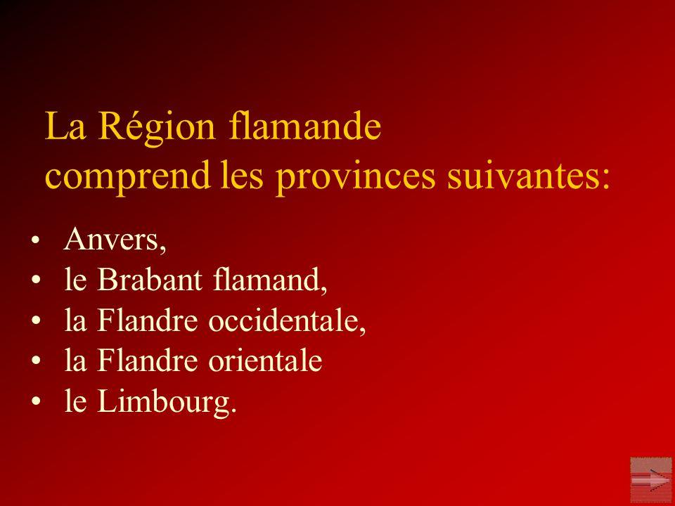La Région flamande comprend les provinces suivantes: