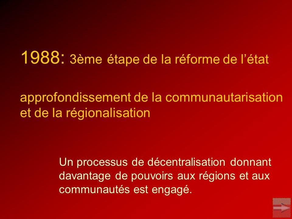 1988: 3ème étape de la réforme de l'état approfondissement de la communautarisation et de la régionalisation