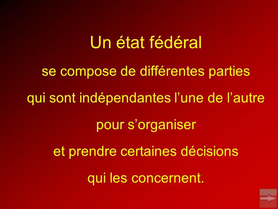 Un état fédéral se compose de différentes parties