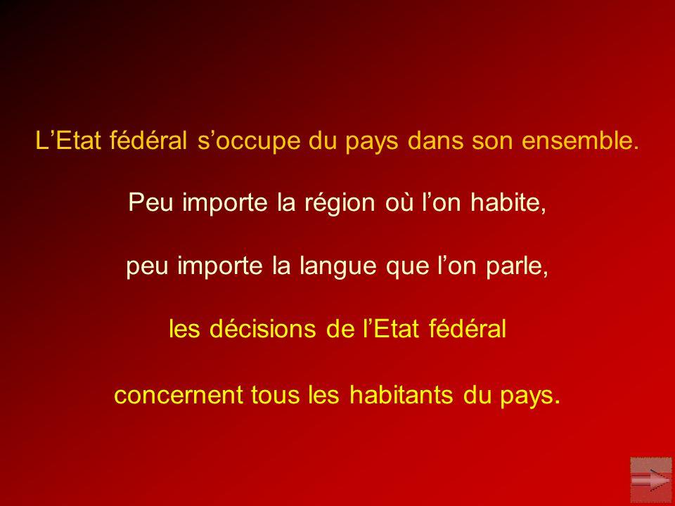 L'Etat fédéral s'occupe du pays dans son ensemble