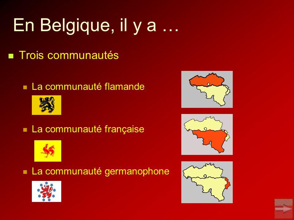 En Belgique, il y a … Trois communautés La communauté flamande