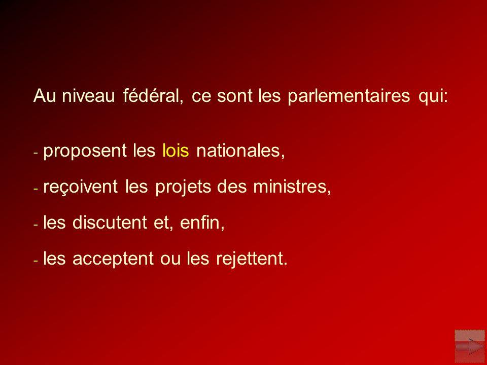 Au niveau fédéral, ce sont les parlementaires qui: