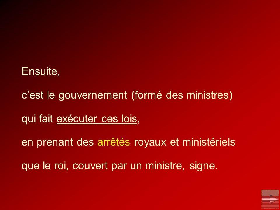 Ensuite, c'est le gouvernement (formé des ministres) qui fait exécuter ces lois, en prenant des arrêtés royaux et ministériels.