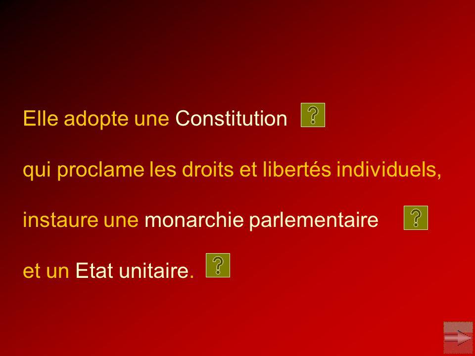 Elle adopte une Constitution qui proclame les droits et libertés individuels, instaure une monarchie parlementaire et un Etat unitaire.