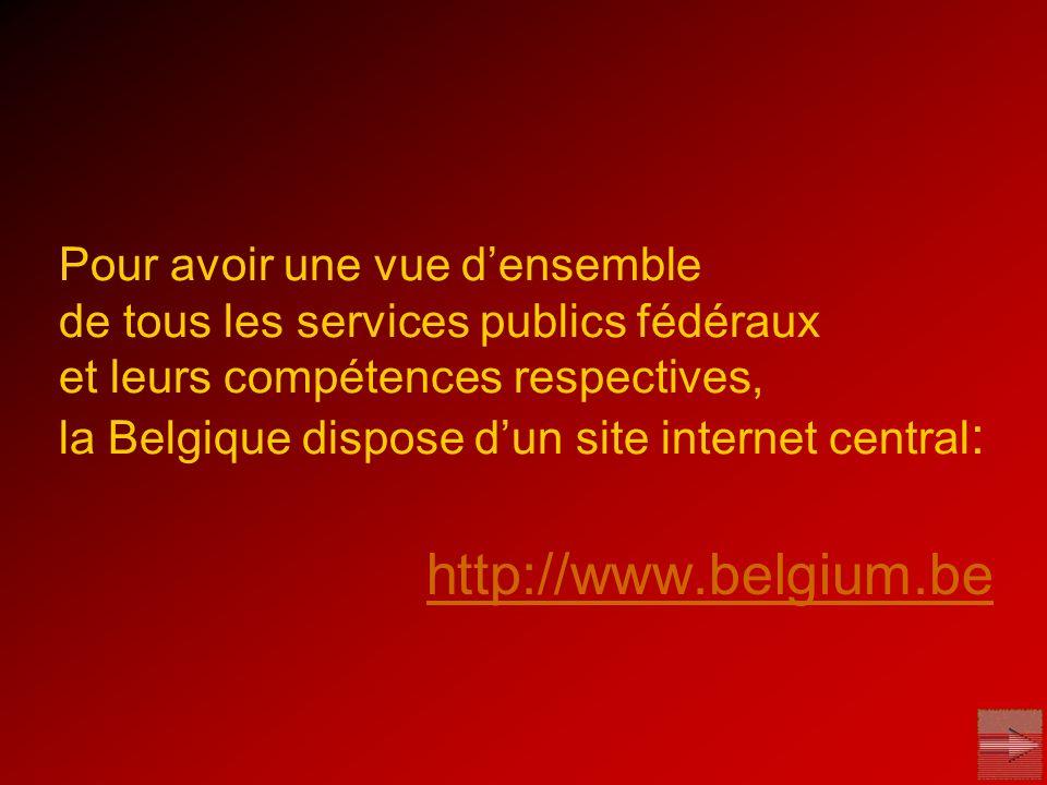 Pour avoir une vue d'ensemble de tous les services publics fédéraux et leurs compétences respectives, la Belgique dispose d'un site internet central: