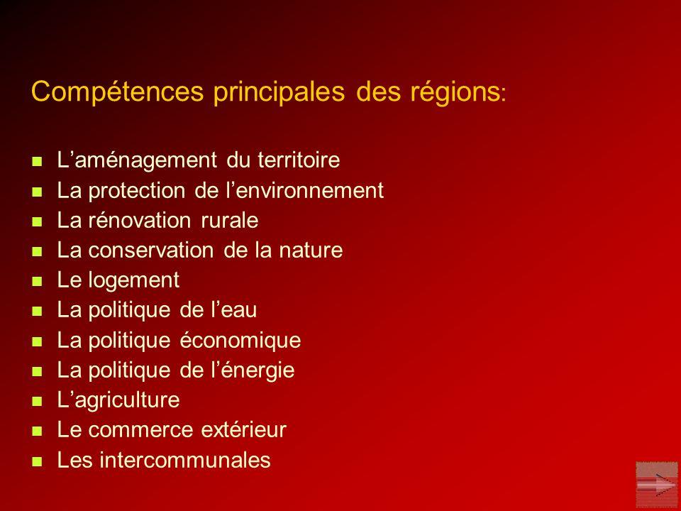 Compétences principales des régions: