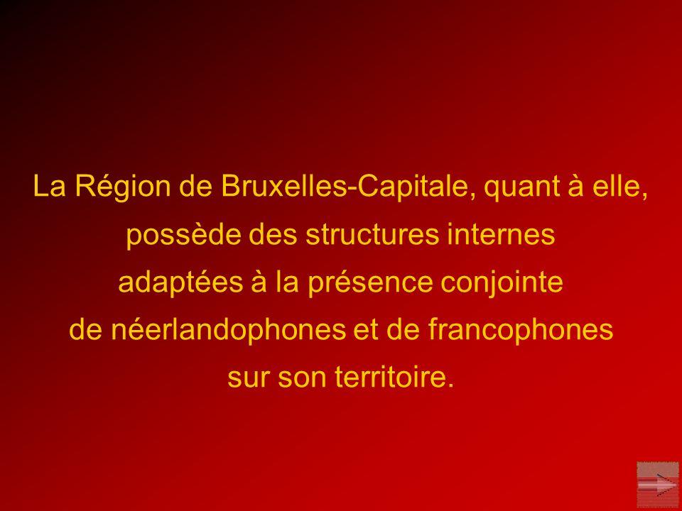 La Région de Bruxelles-Capitale, quant à elle, possède des structures internes adaptées à la présence conjointe de néerlandophones et de francophones sur son territoire.