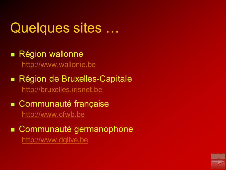 Quelques sites … Région wallonne Région de Bruxelles-Capitale