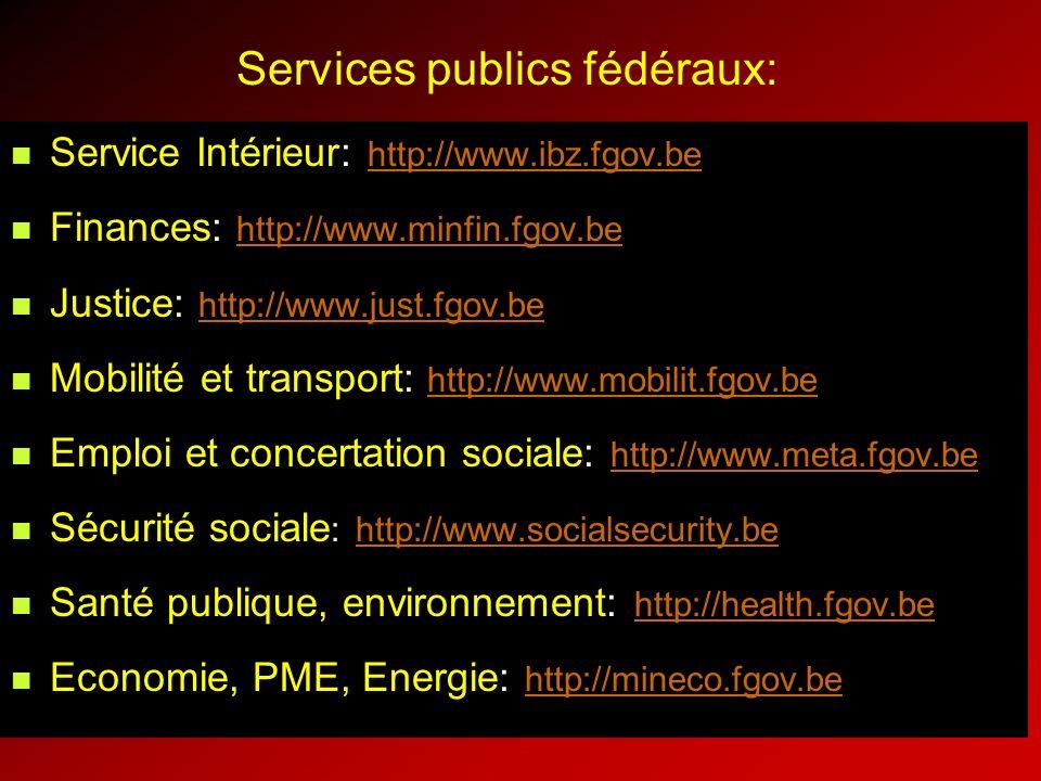 Services publics fédéraux: