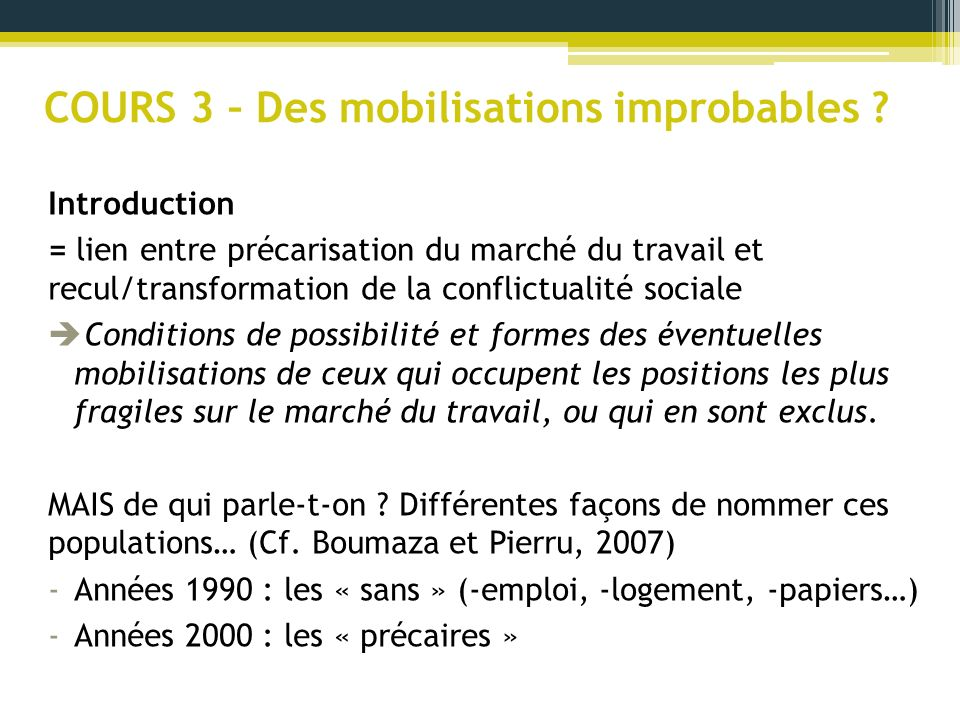 COURS 3 – Des mobilisations improbables