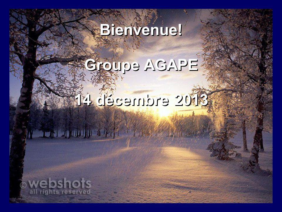 Bienvenue! Groupe AGAPE 14 décembre 2013