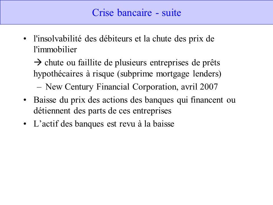 Crise bancaire - suite l insolvabilité des débiteurs et la chute des prix de l immobilier.