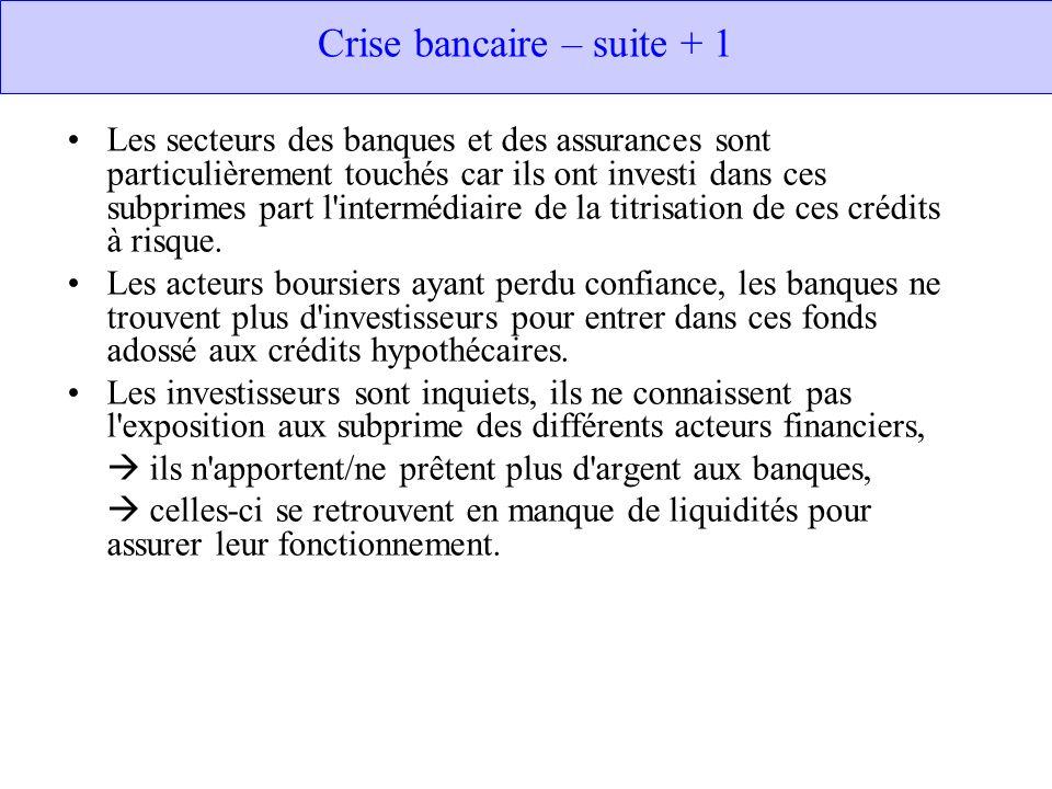 Crise bancaire – suite + 1