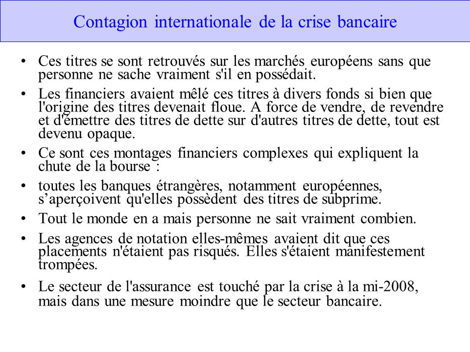 Contagion internationale de la crise bancaire