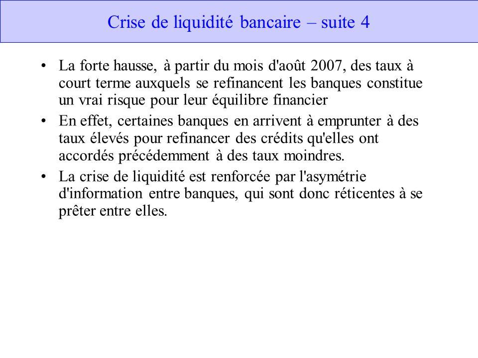 Crise de liquidité bancaire – suite 4