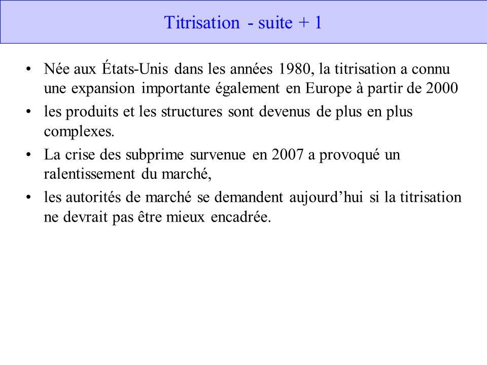 Titrisation - suite + 1 Née aux États-Unis dans les années 1980, la titrisation a connu une expansion importante également en Europe à partir de 2000.