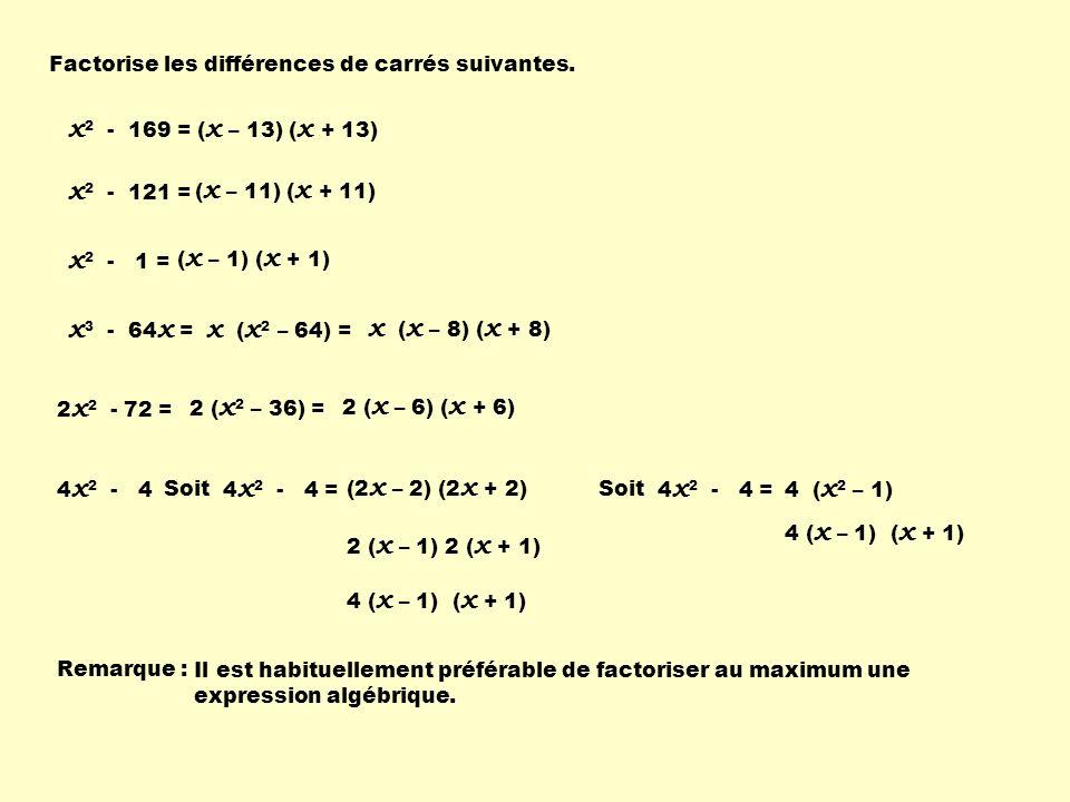 Factorise les différences de carrés suivantes.