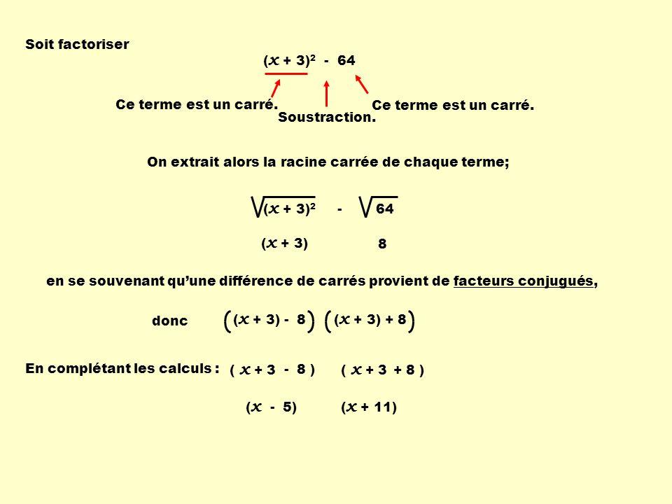 Soit factoriser (x + 3)2 - 64. Ce terme est un carré. Ce terme est un carré. Soustraction. On extrait alors la racine carrée de chaque terme;