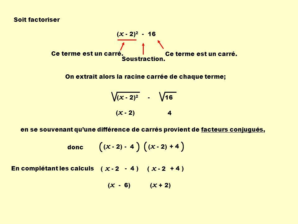 Soit factoriser (x - 2)2 - 16. Ce terme est un carré. Ce terme est un carré. Soustraction. On extrait alors la racine carrée de chaque terme;