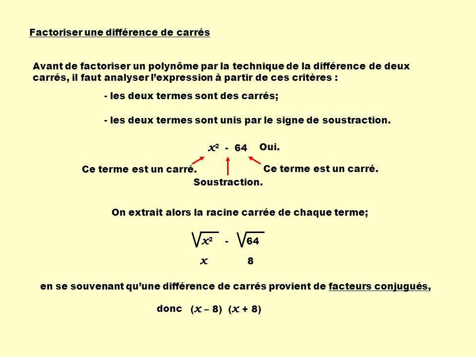 x2 - 64 x2 - 64 x Factoriser une différence de carrés