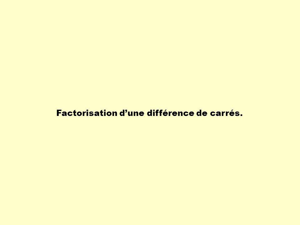 Factorisation d'une différence de carrés.