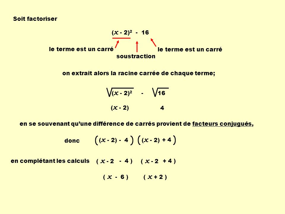 Soit factoriser (x - 2)2 - 16. le terme est un carré. le terme est un carré. soustraction. on extrait alors la racine carrée de chaque terme;