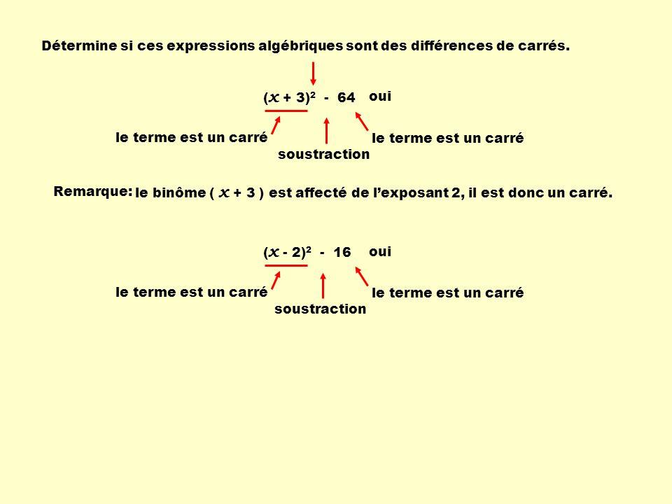 Détermine si ces expressions algébriques sont des différences de carrés.