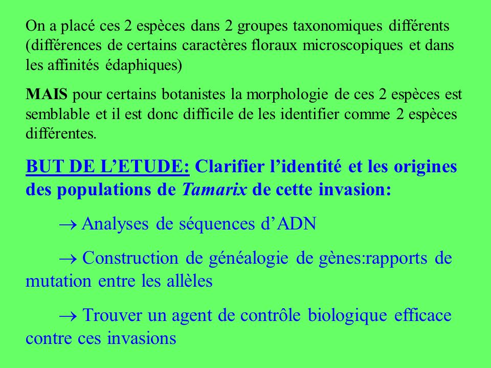  Analyses de séquences d'ADN