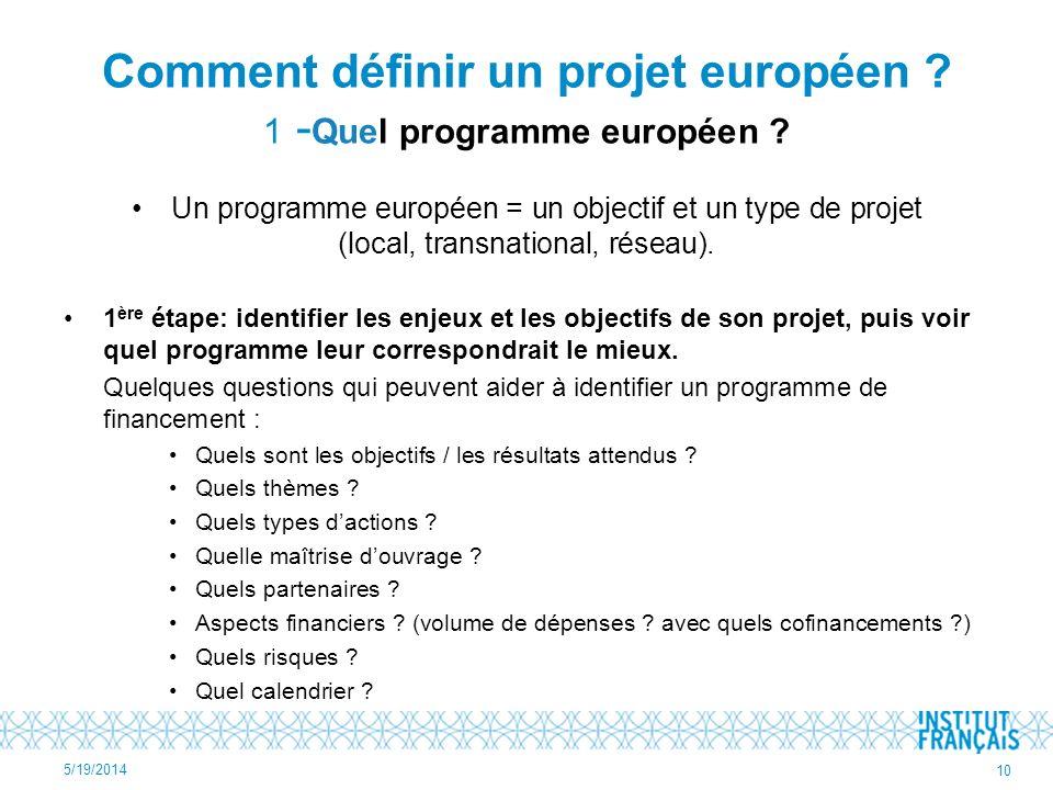 Comment définir un projet européen 1 -Quel programme européen