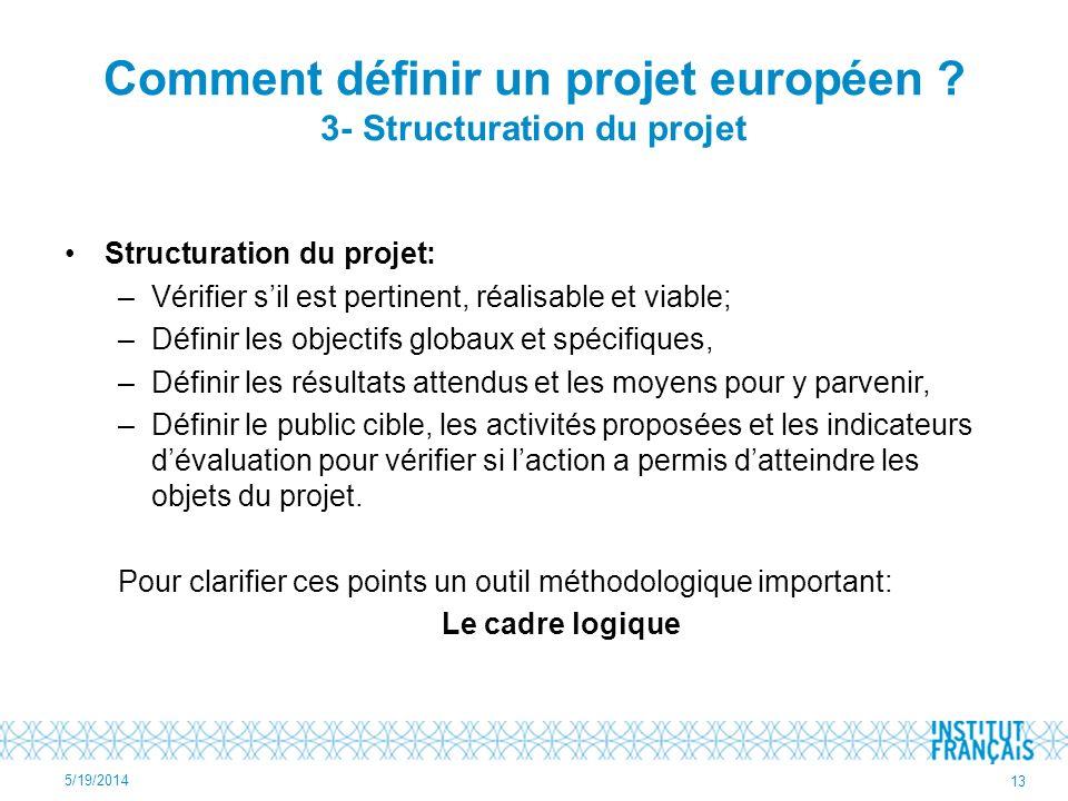 Comment définir un projet européen 3- Structuration du projet