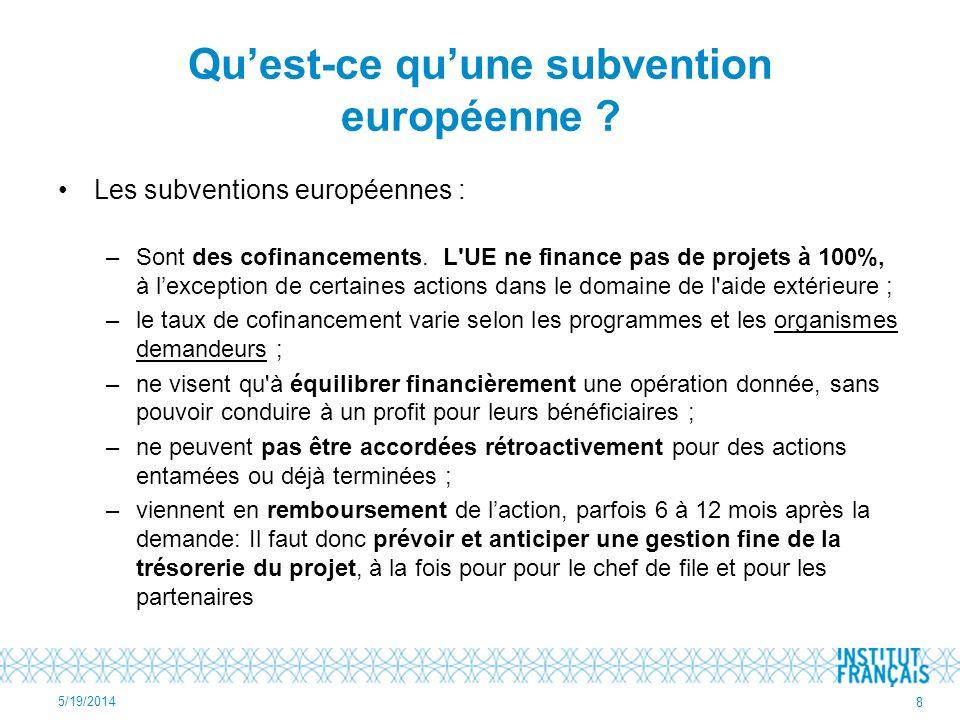 Qu'est-ce qu'une subvention européenne