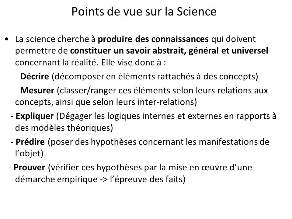 Points de vue sur la Science